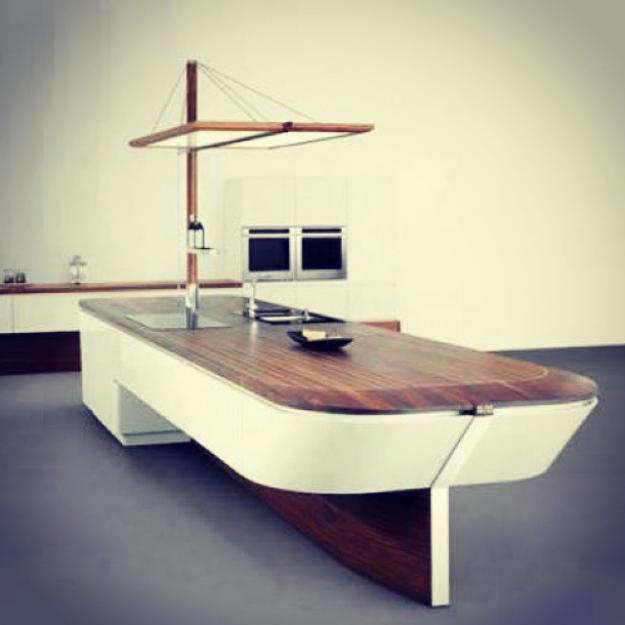 Столешница для кухни в виде острова из искусственного камня