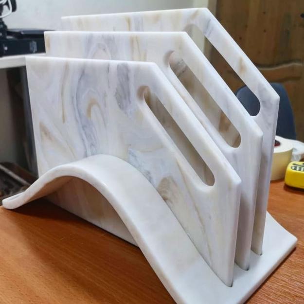 Комплект из 3х разделочных досок на подставке из искусственного камня